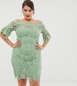 Read more about Paper dolls plus off shoulder crochet dress with frill sleeve - mint