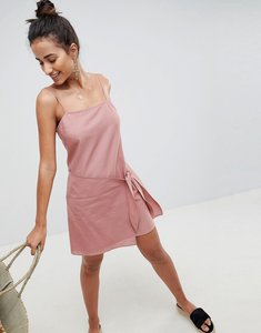 Read more about Asos design square neck wrap front mini sundress - dusky pink