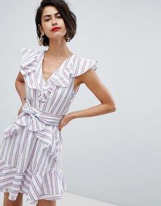 Read more about Vero moda stripe ruffle tie waist dress - multi