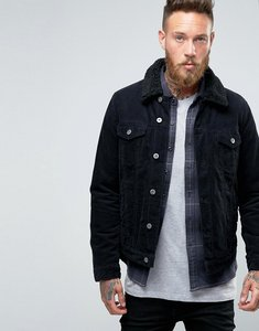 Read more about Asos cord western jacket with borg collar in black - black