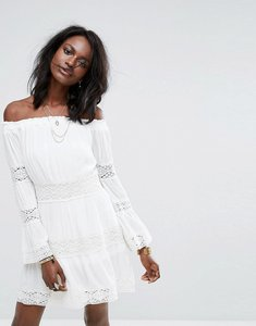 Read more about Missguided cheesecloth crochet bardot dress - white