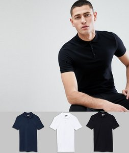Read more about Asos design muscle fit polo in jersey 3 pack save - wht blk navy