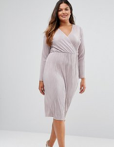 Read more about Asos curve plisse pleated pencil dress with wrap detail - taupe