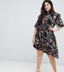 Read more about Influence plus floral asymmetric midi dress with studded belt - multi