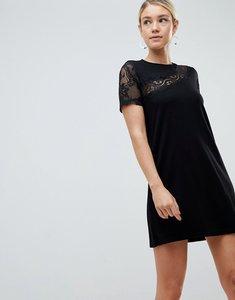 Read more about Asos design lace insert shift dress - black