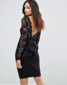 Read more about City goddess long sleeve lace mini dress with bow back - black