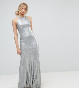 Read more about Tfnc tall allover sequin maxi dress with strappy back - silver