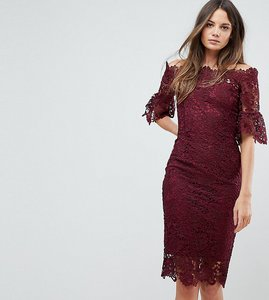Read more about Paper dolls tall off shoulder crochet dress with frill sleeve - burgundy