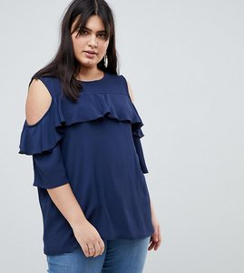 Read more about Lovedrobe cold shoulder with ruffle detail blouse - navy