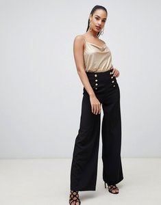 Read more about Flounce london wide leg tailored trouser with gold button detail