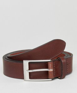 Read more about Asos smart brown leather slim belt with edge emboss - brown