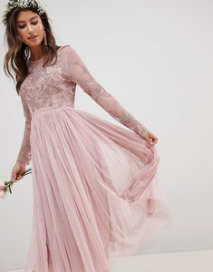Read more about Asos design bridesmaid embroidered mesh long sleeve midi dress - nude