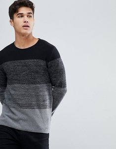 Read more about Esprit knitted jumper with mixed stripe in 100 cotton - black 020
