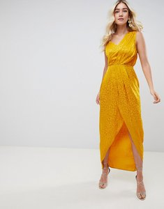 Read more about Asos design soft jacquard maxi dress with cut out - gold