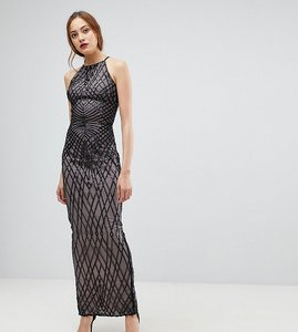 Read more about Little mistress tall sequin print maxi dress with cross back - black and mink