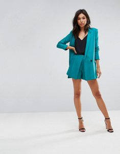 Read more about Asos pleat detail soft shorts in mini jacquard spot - teal