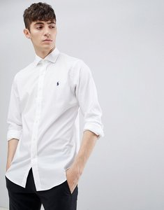 Read more about Polo ralph lauren slim fit poplin shirt with player logo cutaway collar in white - white
