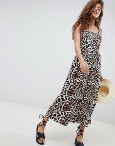 Read more about Asos design leopard print linen button through maxi dress - multi