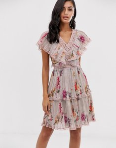 Read more about Lace beads tiered mini dress in soft grey floral print