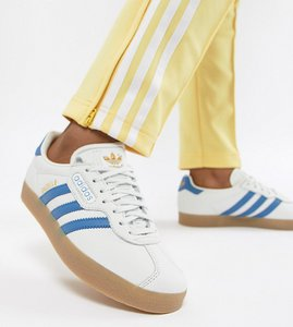 Read more about Adidas originals gazelle super trainers in white and blue - white