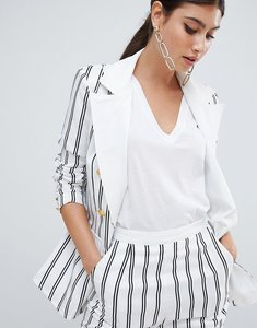 Read more about Missguided stripe button detail blazer - white