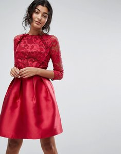 Read more about Little mistress 3 4 sleeve satin skater dress with lace upper