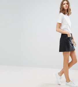 Read more about Asos tall denim low rise skirt in washed black - black