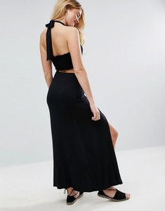 Read more about Asos halter neck maxi dress with shirred back panel - black