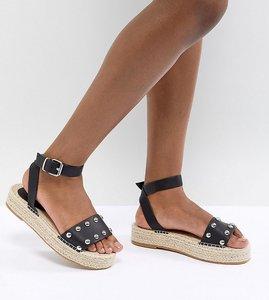 Read more about Asos design jake studded espadrille sandals - black