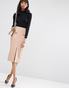 Read more about Asos pu pencil skirt with pockets and front split - nude