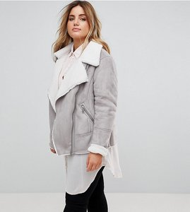 Read more about New look curve faux shearling aviator jacket - grey