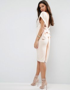 Read more about Asos premium bow back off the shoulder midi dress in scuba - nude
