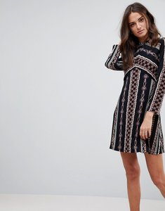 Read more about Free people stella knit print dress - black combo