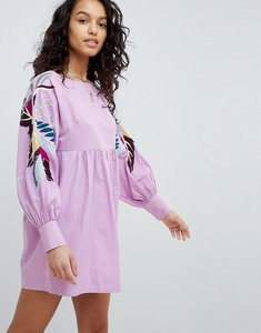 Read more about Free people mini obsessions floral mutton sleeve dress - purple combo