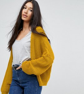 Read more about Asos tall chunky cardigan in fluffy rib - mustard