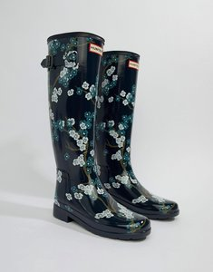 Read more about Hunter print tall wellington boot - blossom