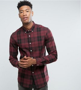 Read more about Asos tall stretch slim poplin check shirt in burgundy - burgundy
