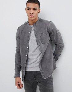 Read more about Asos design stretch slim denim shirt with grandad collar in mid wash - grey