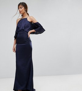 Read more about Jarlo fishtail maxi dress with cold shoulder - navy