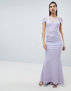 Read more about City goddess lace belted fishtail maxi dress - lilac