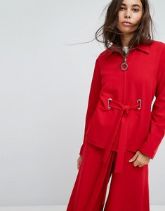 Read more about Hanger jacket with eyelet details - red