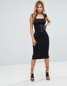 d9ef65d5293d Read more about Asos seamed midi dress with hook and eye corset detail -  black