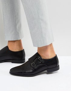Read more about Asos monk shoes in black faux leather with emboss panel - black