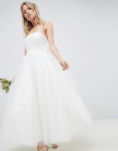 Read more about Asos edition bandeau prom midi wedding dress - white