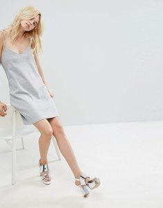Read more about Monki metallic sparkle cami slip dress - silver