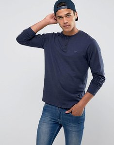 Read more about Threadbare slub long sleeve grandad t-shirt - navy