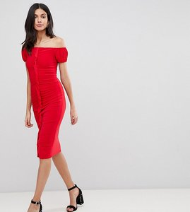Read more about Asos design tall ruffle front bodycon midi dress - red
