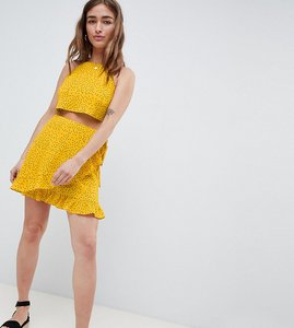 Read more about Glamorous petite wrap mini skirt with frill hem in ditsy spot co-ord - yellow spot