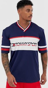 Read more about Tommy sport oversized chest print t-shirt with sleeve stripe in navy