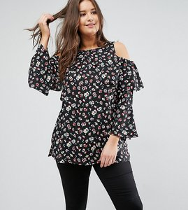 Read more about Ax paris plus cold shoulder ruffle blouse - bright small floral
